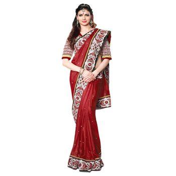 Hypnotex Pure Silk Maroon Color Designer Saree Visu27007