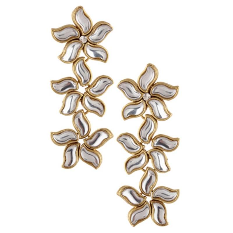 flower kundan ethnic white dangler earring jewelry