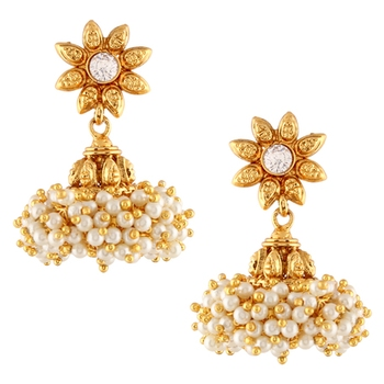 Chandni Pearls Sunflower South Indian Jhumka Earring
