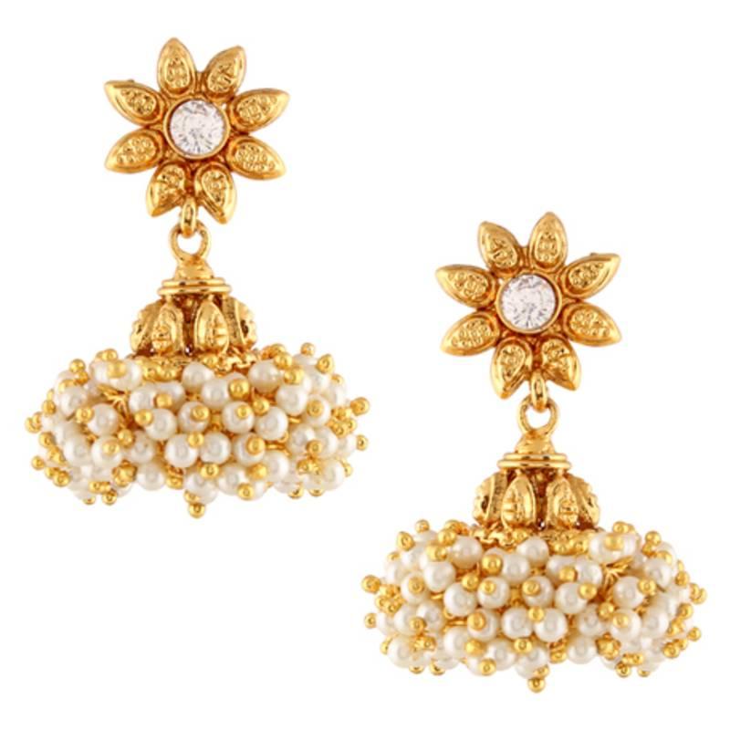 Designer Indian Earrings: Buy Chandni Pearls Sunflower South Indian Jhumka Earring