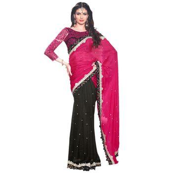 Hypnotex Pure Silk and Net Pink and Black Color Designer Saree Visu27015