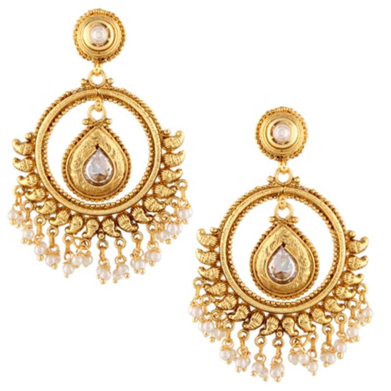 pearl hoop bali kundan south indian ethnic pearl earring