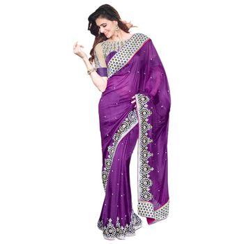 Hypnotex Pure Silk Purple Color Designer Saree Visu27017