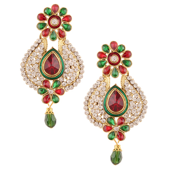 Maroon green flower pearl polki dangler earrings India jewellery