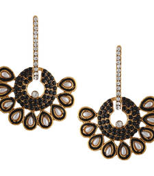 Black Hoop bali meenakari pearl dangler Indian ethnic earrings