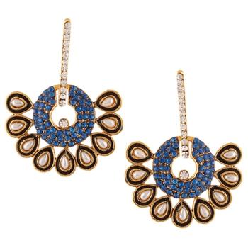 Blue Hoop bali meenakari pearl dangler Indian ethnic earrings