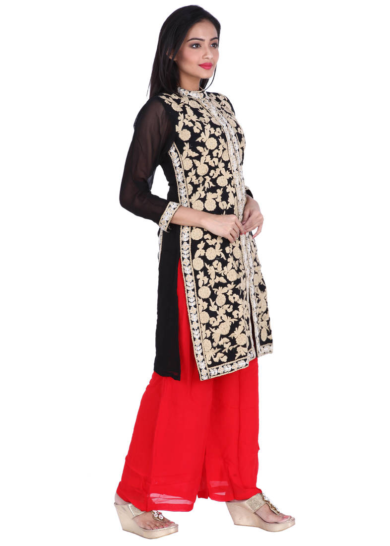 Buy Black Embroidered Pure Georgette Ready Made Kurti With