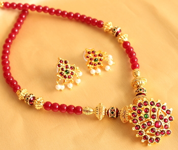 Beautiful Ruby Temple Jewel Necklace Set