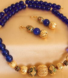 Lovely Handmade Blue Beaded Necklace Set