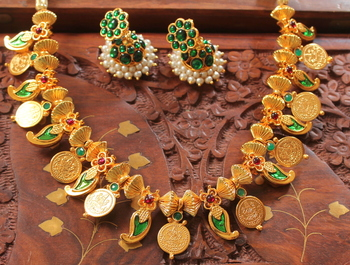 Mesmerising Handmade Green Mango Coin Necklace Set