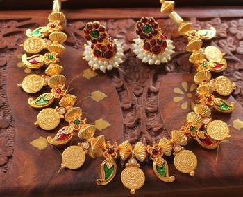 Mesmerising Handmade Multicolour Mango Coin Necklace Set