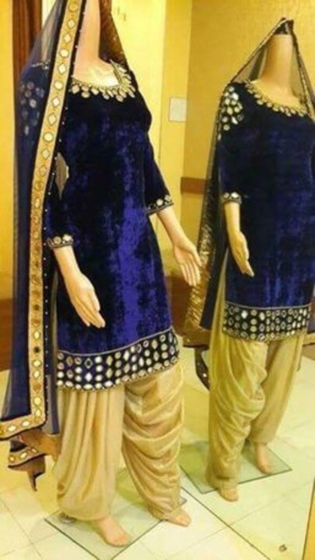 1a70f396d79 Blue velvet embroidered plastic mirror work semi stitched salwar with  dupatta with dupatta