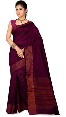 37ce2a04d4 Maroon plain jute saree with blouse - Rajshri Fashions - 842726