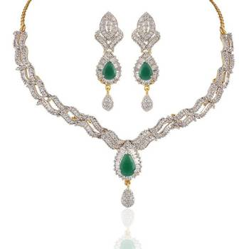 Heena Royal with AD multicolour stones necklace set