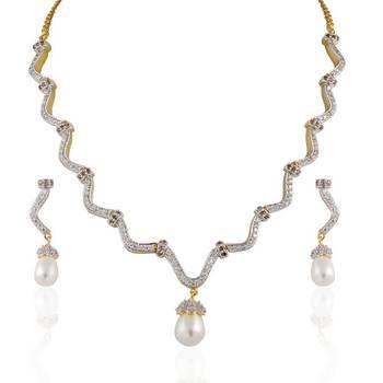Heena contemporary  pearl hanging  zig zag necklace set