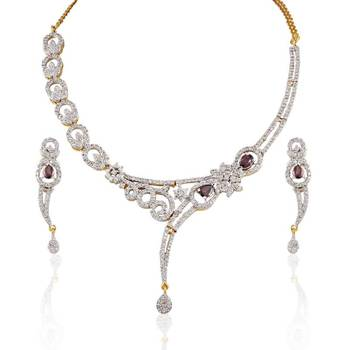 Heena contemporary heart shaped necklace set > HJNL28