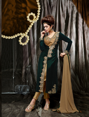 Dark Green and Cream velvet embroderied semi stitched salwar with dupatta