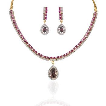Heena Fashion  red CZ stones chain shape necklace set @ HJNL34