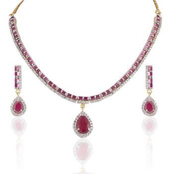 Heena Fashion multicolour stones necklace set @ HJNL45
