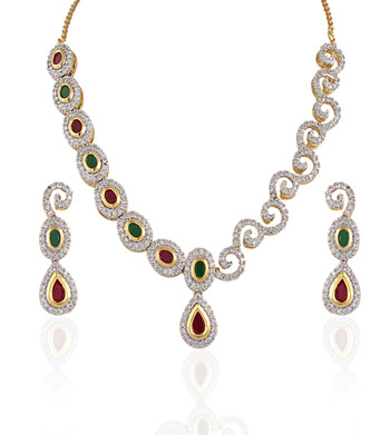 Heena Contemporary multicolour round shape necklace set @ HJNL55