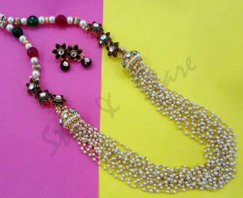 pearl cluster kundan flower beaded necklace with earrings