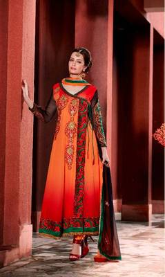 Orange and Red Faux Georgette Angrakha Style Churidar Kameez
