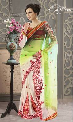 Indian Designer Green and off white Georgette Wedding Wear Saree