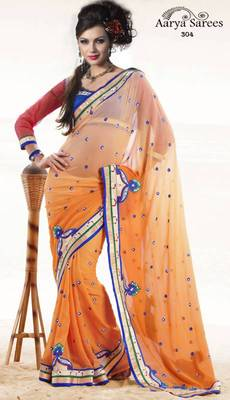 Indian Designer Orange Georgette Wedding Wear Saree