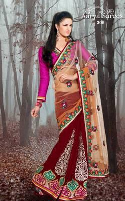 Indian Designer Mehroon Nett Georgette Wedding Wear Saree