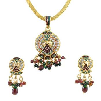 AAKSHI  Contemporary Red and Green Meenakari  Jewellery Set