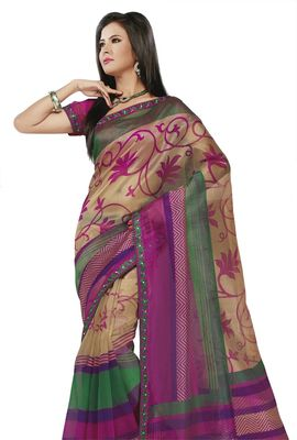 Triveni Purple Super Net Bollywood Printed Saree TSSA947b