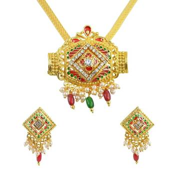 AAKSHI Austrian Diamond Fusion with Classic Meenakari Red and Green Jewellery Set