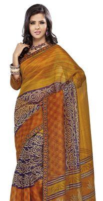 Triveni Golden Super Net Bollywood Printed Saree TSSA954b
