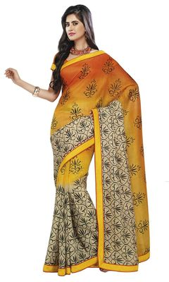 Triveni Yellow Super Net Bollywood Printed Saree TSSA955b