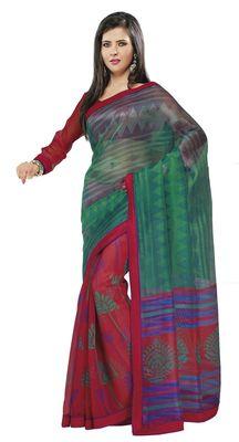 Triveni Red Super Net Bollywood Printed Saree TSSA956a