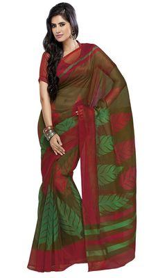 Triveni Green Super Net Bollywood Printed Saree TSSA958b