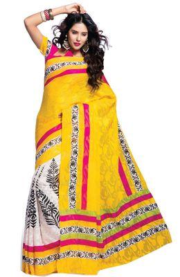 Triveni Yellow Art Silk Bollywood Printed Saree TSVF8502