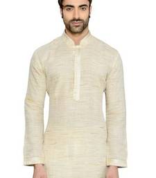 Buy Off White Cotton Handloom Readymade Kurta with Churidar gifts-for-dad online