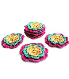 Buy Hand Made Crochet Motifs | Set of 10 | Pink, Blue, Yellow gifts-for-her online