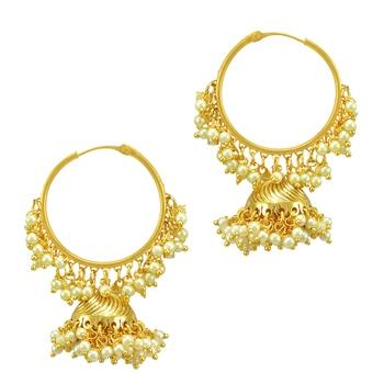 Ethnic Indian Bollywood Fashion Jewelry Golden Jhumki Earrings