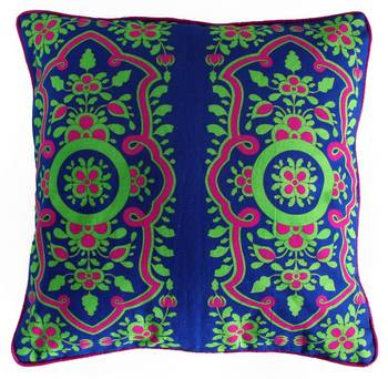 Pretty Chartreuse Pink Flower Cushion Cover