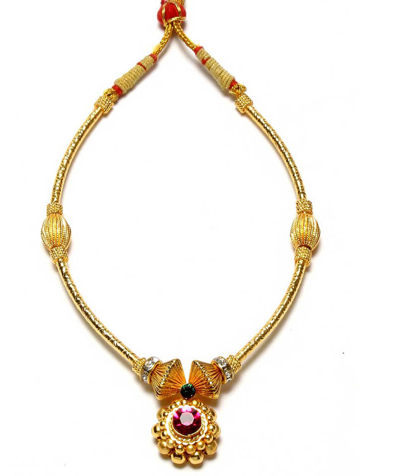 Womens Trendz Saaj Najuk Pipe Thushi 24K Gold Plated Alloy Necklace