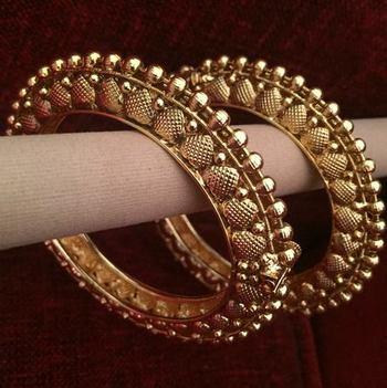 Pair of Two Bangles Golden Adjustable Kada Heart Motif Jewelry