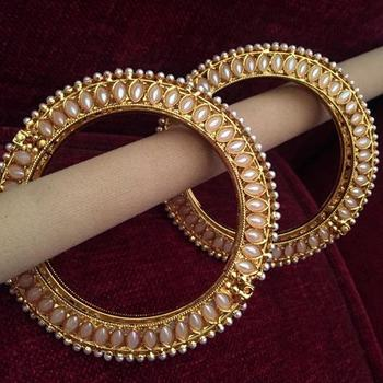 Pair of Two Bangles Golden Adjustable Kada Pearl Jewelry