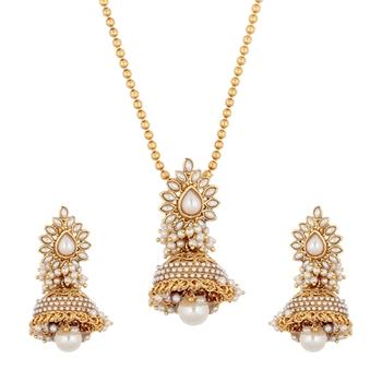 Jhumka pendant pearl necklace set flower India jewellery
