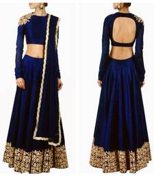 Buy Rozy Fashion blue Raw silk Dori work semi stitched lehenga choli material with matching net dupatta lehenga-choli online