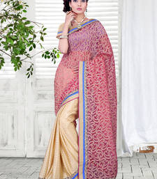 Buy Pink and gold net embroidered sarees with blouse party-wear-saree online