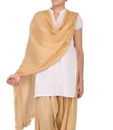 Buy Beige Solid (Plain) Pure Cotton Dupatta with Designer Lace stole-and-dupatta online