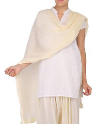Buy Off White Solid (Plain) Pure Cotton Dupatta with Designer Lace stole-and-dupatta online