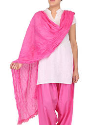 Buy Pink Dark Solid (Plain) Pure Cotton Dupatta with Designer Lace stole-and-dupatta online